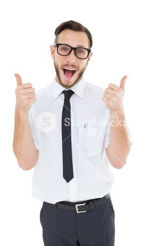 Geeky young man showing thumbs up