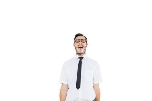 Geeky young businessman shouting loudly