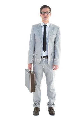 Handsome businessman holding briefcase