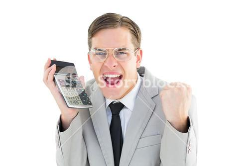 Geeky smiling businessman holding calculator