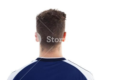 Football player in blue jersey