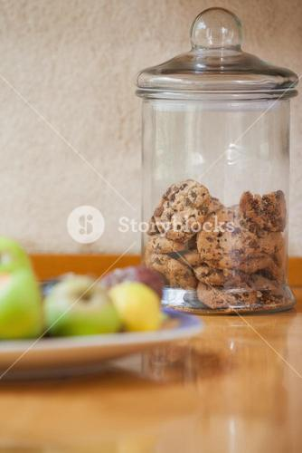 Counter top with cookies and fruit