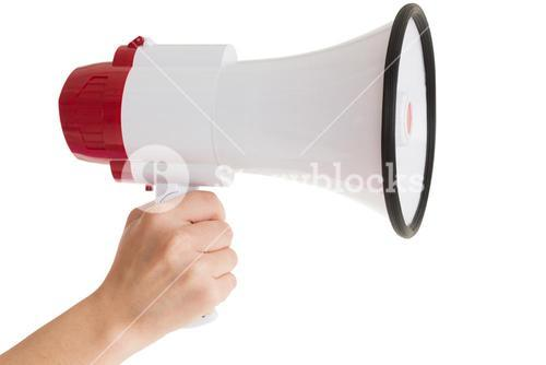 Close up of hand holding bullhorn