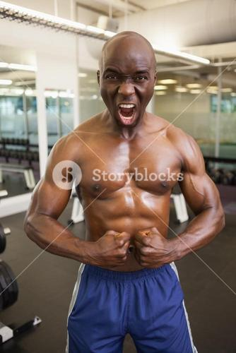 Muscular man shouting while flexing muscles in gym