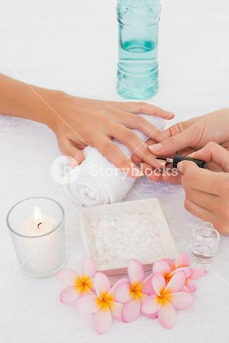 Beautician applying nail varnish to female clients nails