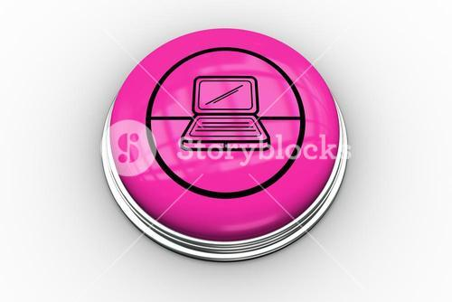 Laptop graphic on pink button