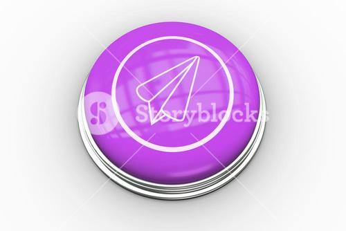 Paper airplane graphic on purple button