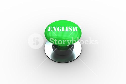 English on digitally generated green push button
