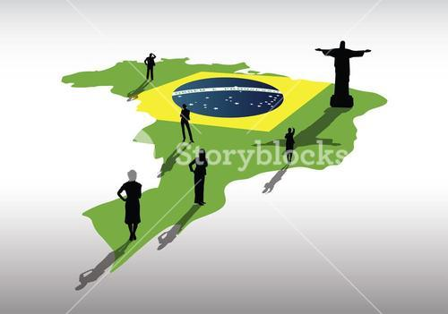 Brazil map on country outline with business people