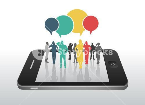 Business people on smartphone with speech bubbles