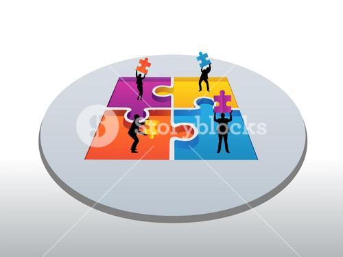 Business people holding jigsaw pieces vector