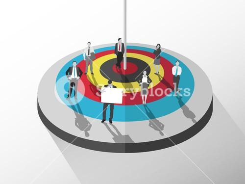 Business people standing around target