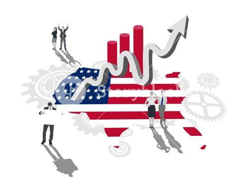 Business people on america outline with flag colours and up arrow