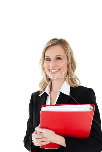 Radiant businesswoman holding a red folder