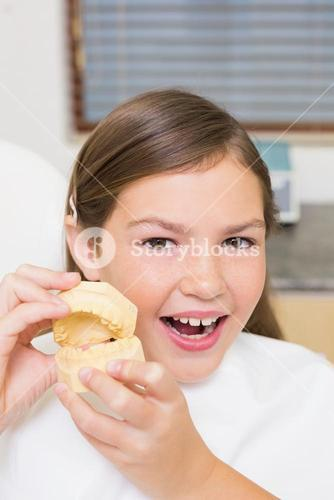 Little girl sitting in dentists chair holding model teeth