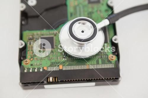 Stethoscope lying on cpu on table
