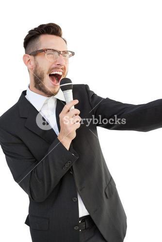 Enthusiastic speaker talking in microphone