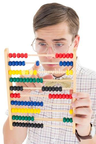 Nerdy hipster adding on abacus