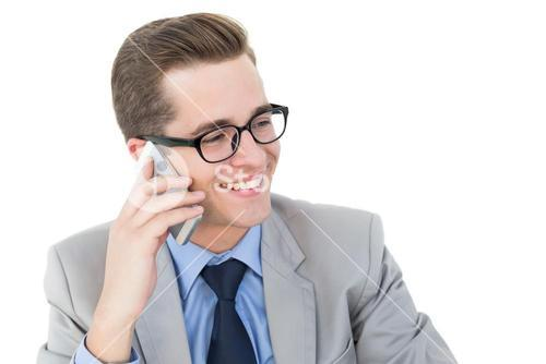 Nerdy businessman on a phone call