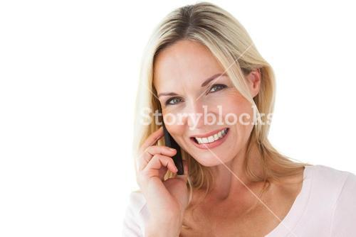 Happy blonde talking on the phone