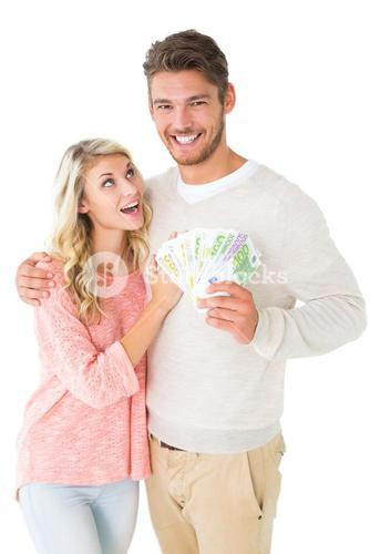 Attractive couple flashing their cash