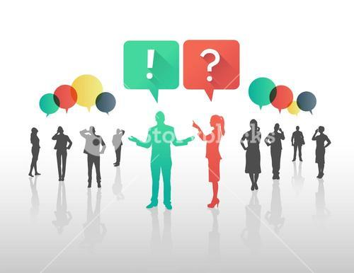 Business people asking and answering questions in speech bubbles