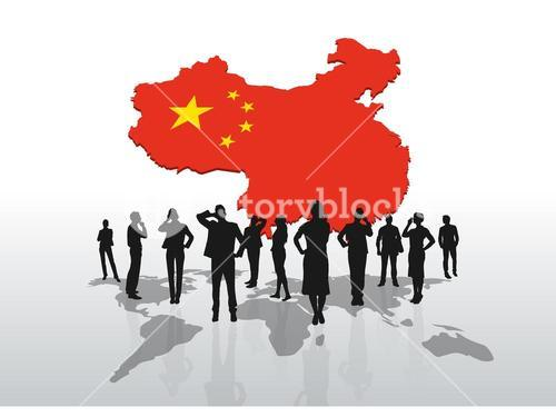 Business people standing under china graphic
