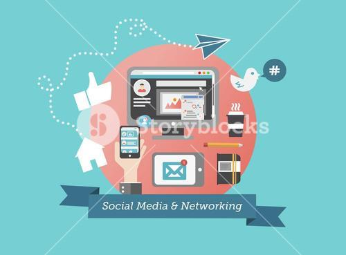Social media and network concept vector