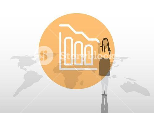 Businesswoman drawing graph on world map