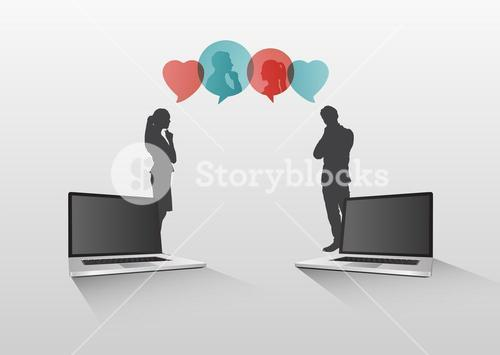 Video chat concept vector with laptops and speech bubbles