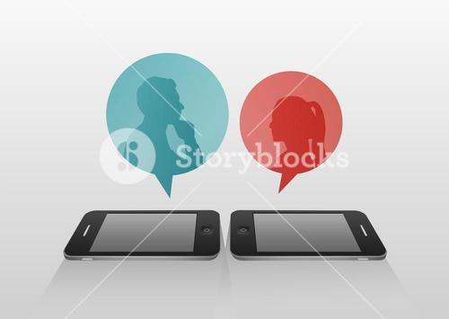 Speech bubbles over smartphone