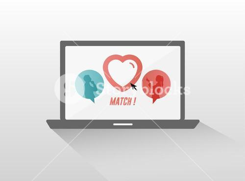Online dating service on laptop screen