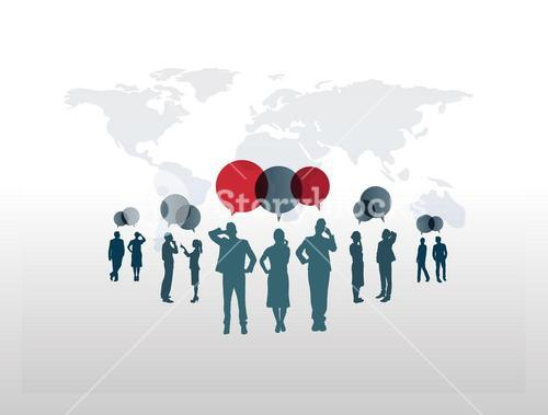 Business people with speech bubbles against world map