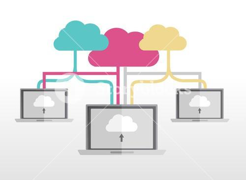 Cloud computing concept with laptops