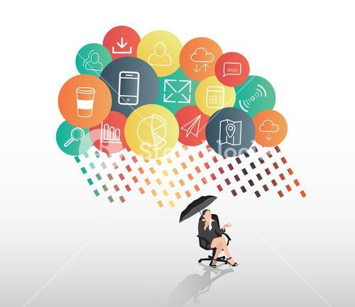 Businesswoman sheltering from app cloud