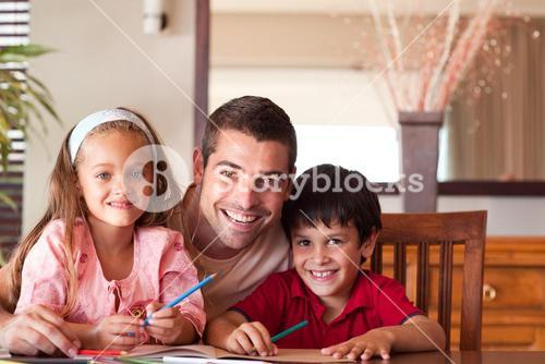 Portrait of a beautiful family sitting