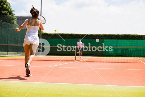 Tennis match in progress on the court
