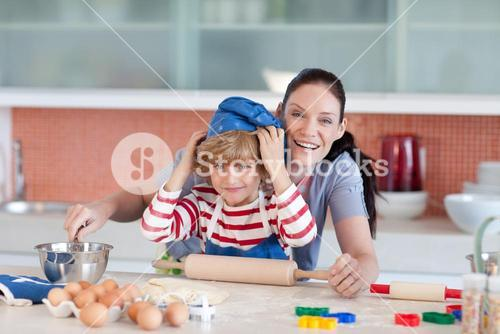 Boy having fun with his mother