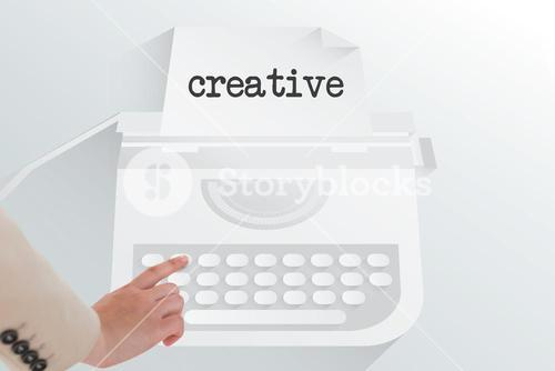 The word creative and businesswoman pointing