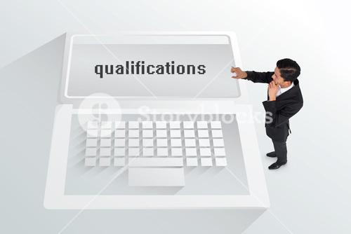 The word qualifications and thoughtful asian businessman