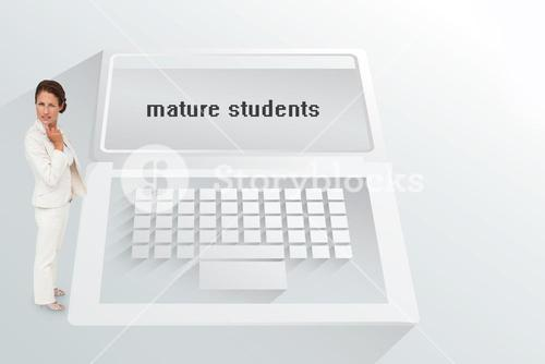The word mature students and thinking businesswoman