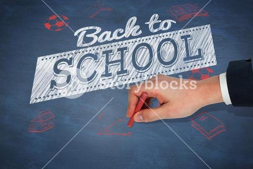 Composite image of hand writing with a chalk