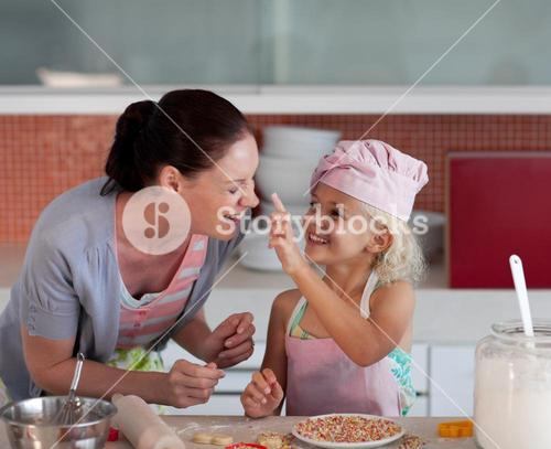 Potrait of mother and daugther having fun together