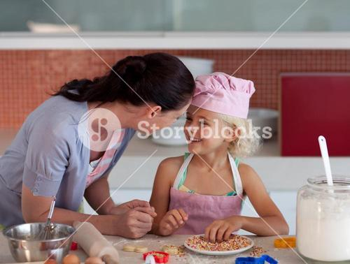 Potrait of mother and daugther in kitchen