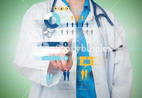 Composite image of young doctor pointing