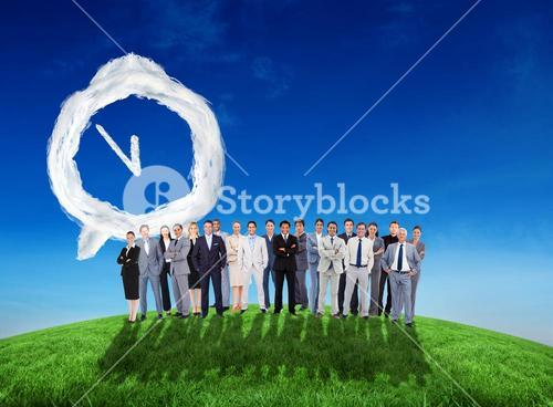 Composite image of business people standing up