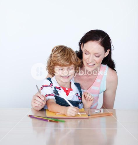 Blissful mother painting with his son