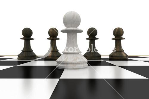 White pawn in front of black pawns