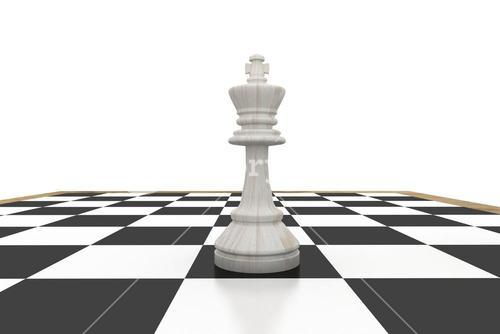 White king on chess board