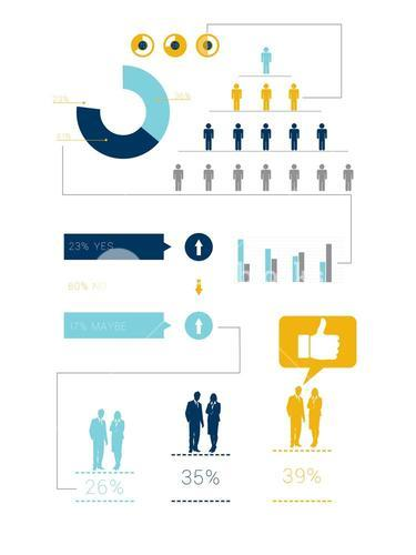 Digitally generated blue and yellow business infographic